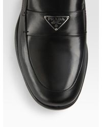 Prada   Black Classic Logo Loafer   Lyst