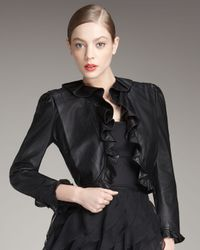 Rachel Zoe | Black Ruffle-trim Leather Jacket | Lyst