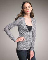 Rebecca Taylor - Gray Cloud Leopard-print Cardigan - Lyst