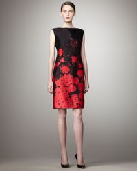 Teri Jon | Black Floral-printed Sheath Dress | Lyst