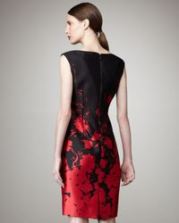 Teri Jon - Black Floral-printed Sheath Dress - Lyst