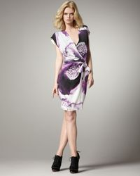 Robert Rodriguez | Purple Clematis-print Faux-wrap Dress | Lyst