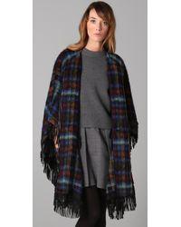 See By Chloé | Blue Wool Cape with Leather Fringe and Buckles | Lyst