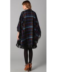 See By Chloé - Blue Wool Cape with Leather Fringe and Buckles - Lyst