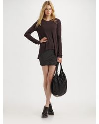 T By Alexander Wang | Brown Asymmetrical Hem Long Sleeve Tee | Lyst