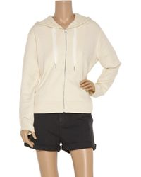 T By Alexander Wang | Natural Hooded Cotton-jersey Jacket | Lyst