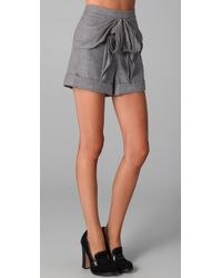 Tibi | Gray Bow Shorts | Lyst