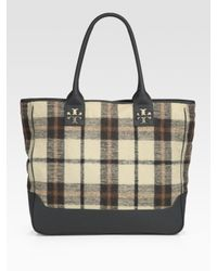 Tory Burch | Green Plaid Wool & Leather Rain Tote | Lyst