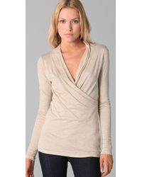 Velvet By Graham & Spencer | Natural Neneh Wrap Top | Lyst