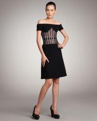 Versus | Black Off-shoulder Sparkle-corset Dress | Lyst