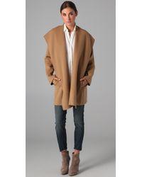 Vince - Brown Hooded Drape Coat - Lyst