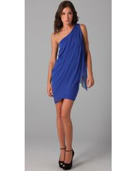 Alice + Olivia | Blue Draped One Shoulder Dress | Lyst
