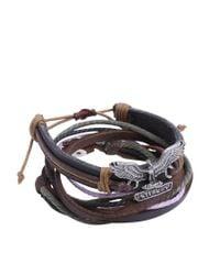 ASOS - Black Eagle Leather Wrap Around Cuff Bracelet for Men - Lyst