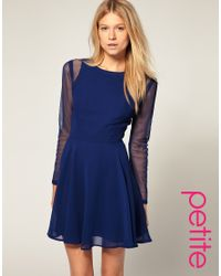 ASOS Collection - Blue Asos Petite Exclusive Chiffon Dress with Mesh Detail - Lyst