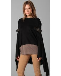 Foley + Corinna - Black Knit Poncho with Leather Buckles - Lyst