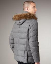Moncler | Gray Fur-trim Hooded Parka for Men | Lyst