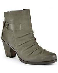 Paul Green | Gray Joellen - Grey Pleated Leather Bootie | Lyst