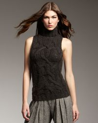 Theyskens' Theory | Green Sleeveless Cable-knit Sweater | Lyst