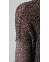 Helmut Lang - Gray V Neck Sheer Sweater - Lyst