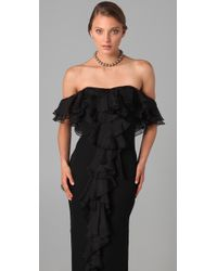 Notte by Marchesa - Black Off Shoulder Column Gown with Ruffle - Lyst