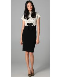 RED Valentino | White Macrame Knit Cap Sleeve Dress | Lyst