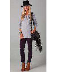 Splendid - Gray Thermal Cowl Neck Tunic - Lyst