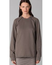 T By Alexander Wang | Gray Raglan Zip Sweatshirt | Lyst