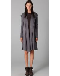 T By Alexander Wang | Gray Batting Shawl Hooded Cardigan | Lyst