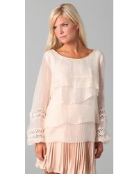 The Addison Story - White Tiered Top with Lace Sleeves - Lyst