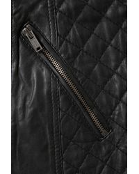TOPSHOP - Black Quilted Longline Biker Jacket - Lyst
