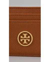 Tory Burch | Brown Saffiano Robinson Slim Card Case | Lyst