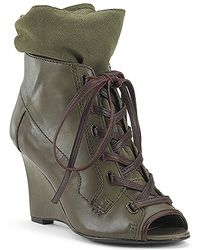 7 For All Mankind | Green Madelyn Olive Peep Toe Bootie | Lyst