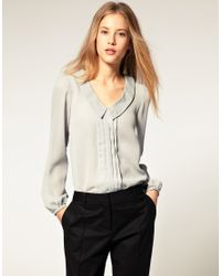 ASOS Collection | Gray Asos Blouse with Pintuck and Drop Collar | Lyst