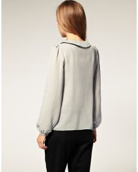 ASOS Collection - Gray Asos Blouse with Pintuck and Drop Collar - Lyst