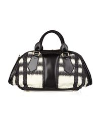 Burberry Prorsum - Black Leather and Wool-blend Bowling Bag - Lyst