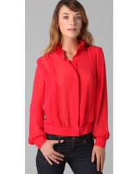 Lover | Red Ruffled-collar Crepe Blouse | Lyst