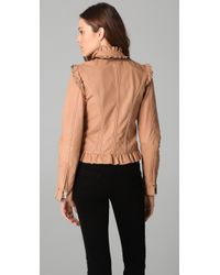 RED Valentino - Natural Ruffle Leather Jacket - Lyst