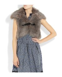 Alice By Temperley - Brown Faux Fur Cropped Gilet - Lyst