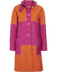 Bottega Veneta | Orange Block-color Wool-blend Bouclé Coat | Lyst