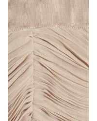 Burberry | Natural Pleated Chiffon Dress | Lyst