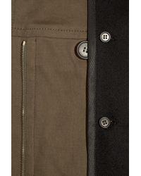 Derek Lam | Green Shearling-trimmed Cotton-blend Coat | Lyst