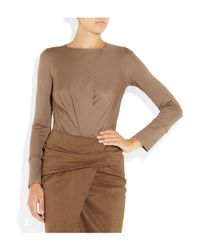 Donna Karan - Brown Convertible Satin-jersey Bodysuit - Lyst