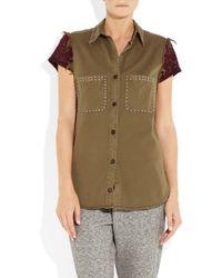 Étoile Isabel Marant | Green Olena Studded Cotton-twill Shirt | Lyst