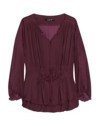 Isabel Marant | Purple Adair Drawstring Chiffon Blouse | Lyst