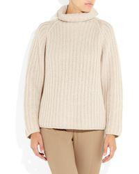 Jil Sander - Natural Ribbed Cashmere Turtleneck Sweater - Lyst
