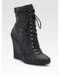 Joie | Black Break On Through Leather Lace-up Wedge Ankle Boots | Lyst