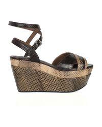Marni - Brown Watersnake Wedge Sandals - Lyst