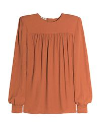Miu Miu - Orange Ruched Crepe Blouse - Lyst