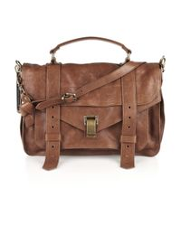 Proenza Schouler | Brown Ps1 Large Leather Satchel | Lyst