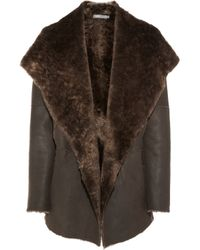 Vince | Brown Hooded Shearling Coat | Lyst